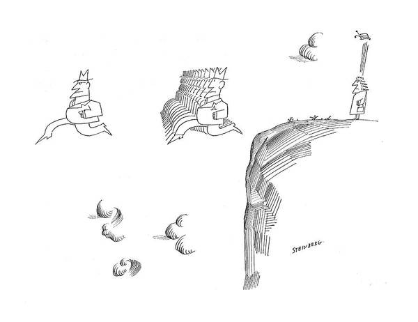 Edge Drawing - New Yorker November 9th 1968 by Saul Steinberg