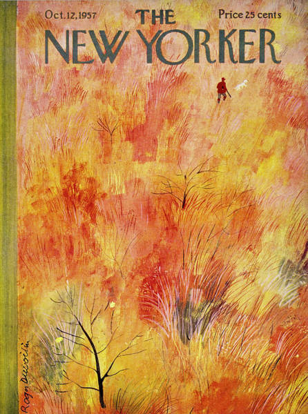 Yellow Painting - New Yorker October 12th 1957 by Roger Duvoisin