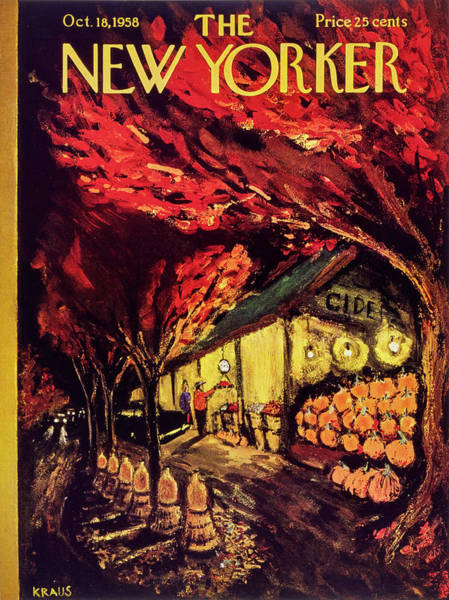Market Painting - New Yorker October 18 1958 by Robert Kraus