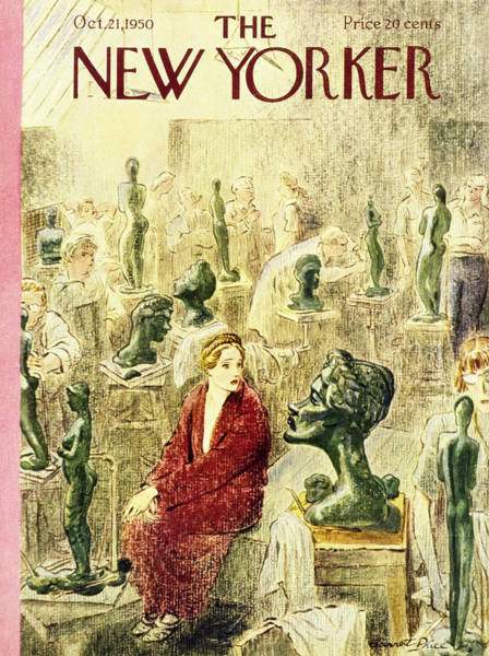 Students Painting - New Yorker October 21 1950 by Garrett Price