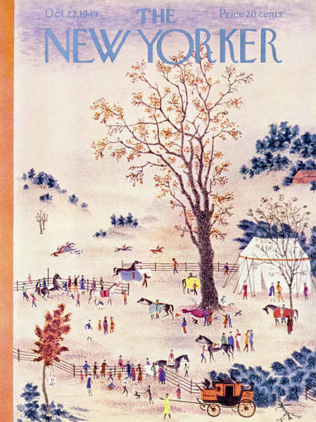 Race Horse Painting - New Yorker October 22 1949 by Joseph Low