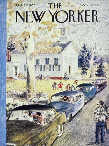 Father Painting - New Yorker October 26th 1957 by Garrett Price