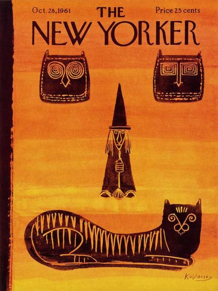 Halloween Drawing - New Yorker October 28 1961 by Anatole Kovarsky