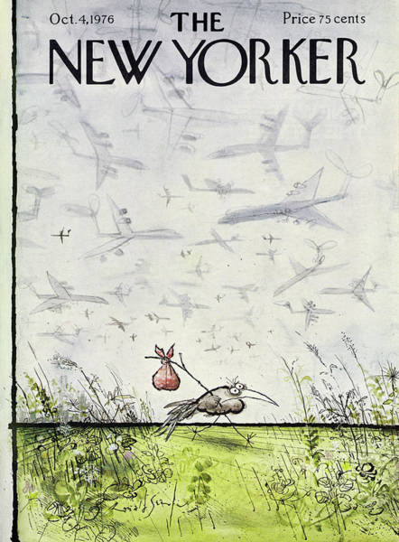 Winter Drawing - New Yorker October 4 1976 by Ronald Searle
