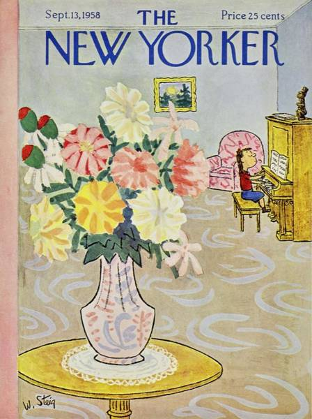 Piano Painting - New Yorker September 13 1958 by William Steig