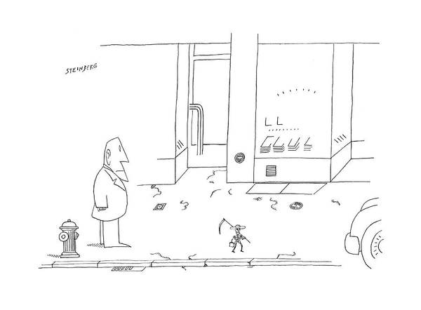 Briefcase Drawing - New Yorker September 25th 1978 by Saul Steinberg