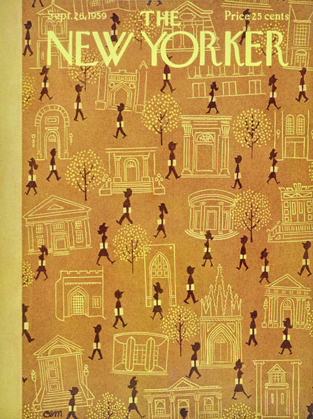 Students Painting - New Yorker September 26 1959 by Charles Martin
