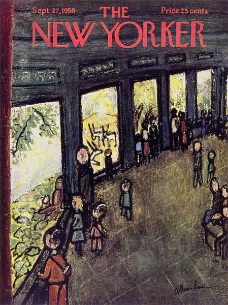 Students Painting - New Yorker September 27 1958 by Abe Birnbaum