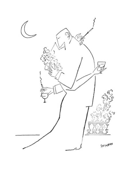 Attractive Drawing - New Yorker September 5th, 1953 by Saul Steinberg