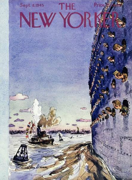 Skyline Painting - New Yorker September 8 1945 by Alan Dunn