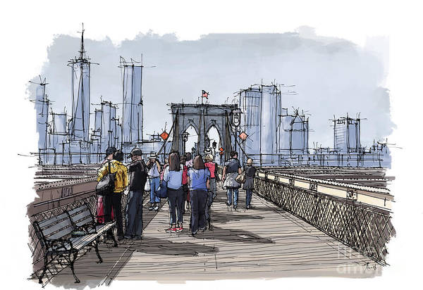 Wall Art - Painting - New York.the Bridge.handmade Drawing by Drawspots Illustrations