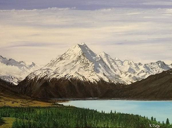 Art Print featuring the painting New Zealand Lake by Kevin Daly