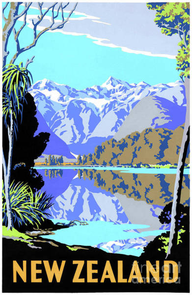Wall Art - Drawing - Mint Condition New Zealand Lake Matheson Vintage Travel Poster by Vintage Treasure
