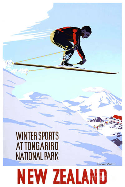Wall Art - Drawing - Mint Condition New Zealand Winter Sports Vintage Travel Poster by Vintage Treasure