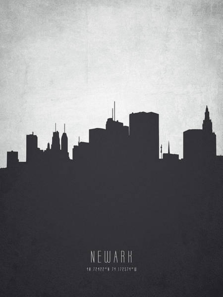 Wall Art - Painting - Newark New Jersey Cityscape 19 by Aged Pixel