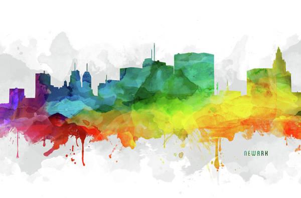 Wall Art - Digital Art - Newark Skyline Mmr-usnjne05 by Aged Pixel