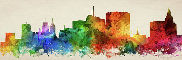 Wall Art - Digital Art - Newark Skyline Panorama Usnjne-pa03 by Aged Pixel