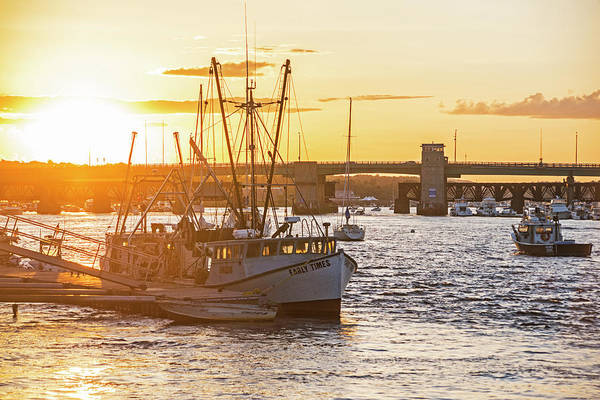 Photograph - Newburyport Harbor At Sunset Newburyport Ma Fishing Boat by Toby McGuire