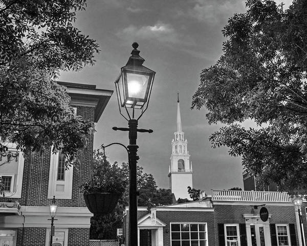 Photograph - Newburypory Ma Old South Presbyterian Church Newburyport Ma Black And White by Toby McGuire