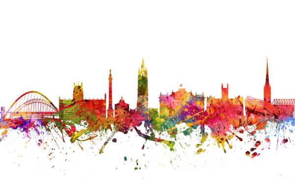 Newcastle Digital Art - Newcastle Cityscape 08 by Aged Pixel
