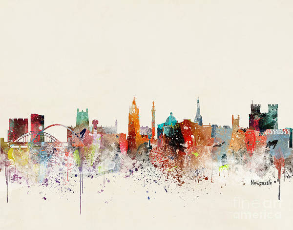 Wall Art - Painting - Newcastle Skyline by Bri Buckley