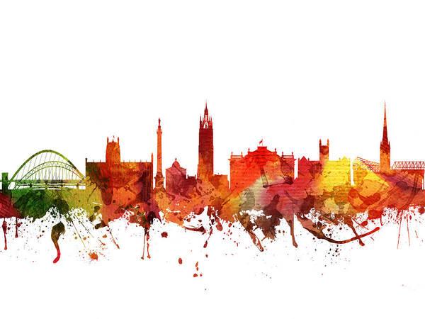 Newcastle Digital Art - Newcastle Cityscape 04 by Aged Pixel
