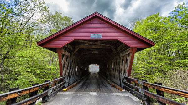 Red Covered Bridge Photograph - Newfield Covered Bridge by Stephen Stookey