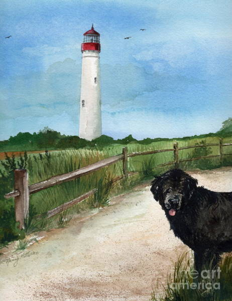 Cape May Painting - Newfy At Cape May Light  by Nancy Patterson