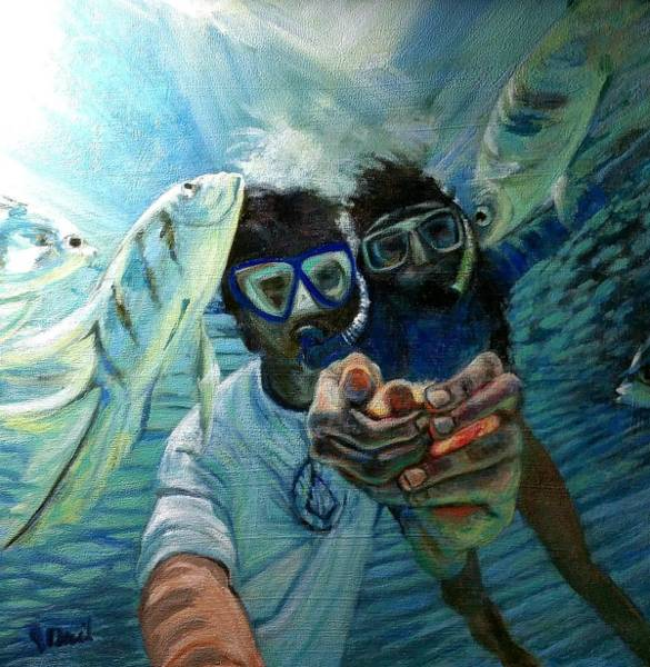 Painting - Honeymoon Selfie by J Reynolds Dail