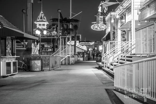 Pavilion Photograph - Newport Balboa Fun Zone Black And White Picture by Paul Velgos