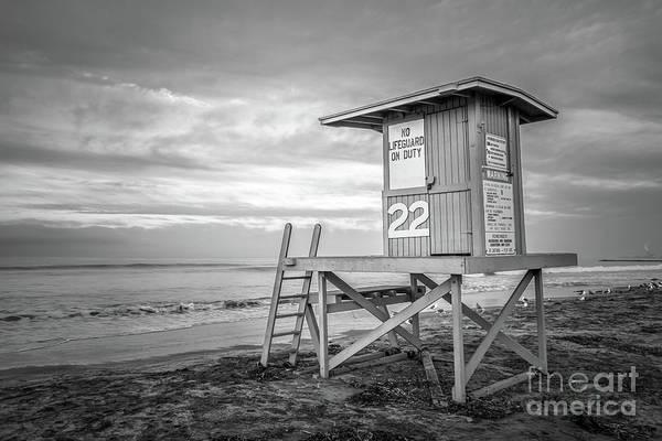 Balboa Photograph - Newport Beach Ca Lifeguard Tower 22 Black And White Photo by Paul Velgos