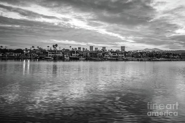 Wall Art - Photograph - Newport Beach California Skyline Black And White Photo by Paul Velgos