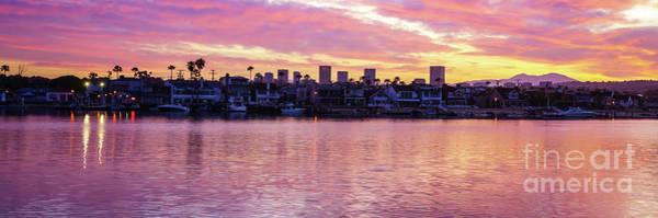 Wall Art - Photograph - Newport Beach California Skyline Sunrise Panorama Photo by Paul Velgos