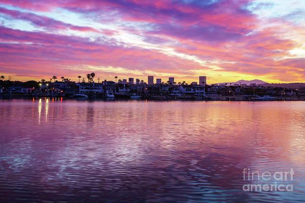 Wall Art - Photograph - Newport Beach California Skyline Sunrise Photo by Paul Velgos