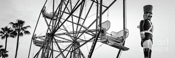 Wall Art - Photograph - Newport Beach Ferris Wheel Bllack And White Panorama Photo by Paul Velgos
