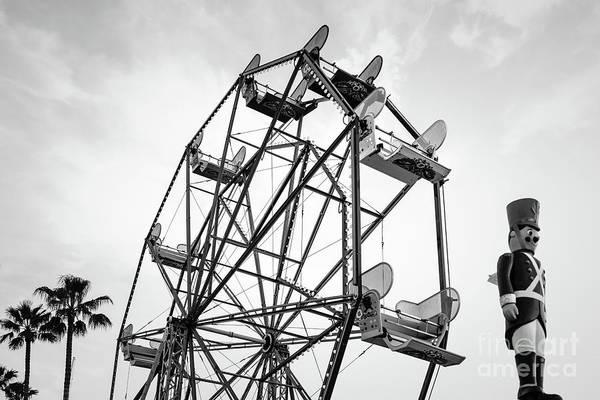 Wall Art - Photograph - Newport Beach Ferris Wheel Bllack And White Photo by Paul Velgos