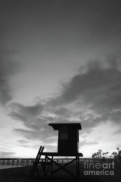 High Definition Photograph - Newport Beach Lifeguard Tower B Black And White Picture by Paul Velgos