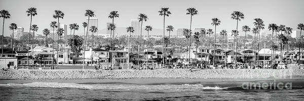 Oceanfront Photograph - Newport Beach Skyline High Resolution Black And White Panorama by Paul Velgos