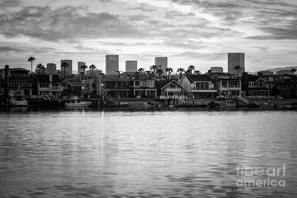 Wall Art - Photograph - Newport Beach Skyline Sunrise Black And White Photo by Paul Velgos