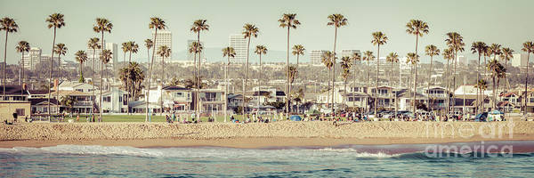 Oceanfront Photograph - Newport Beach Skyline Vintage High Resolution Panorama Photo by Paul Velgos
