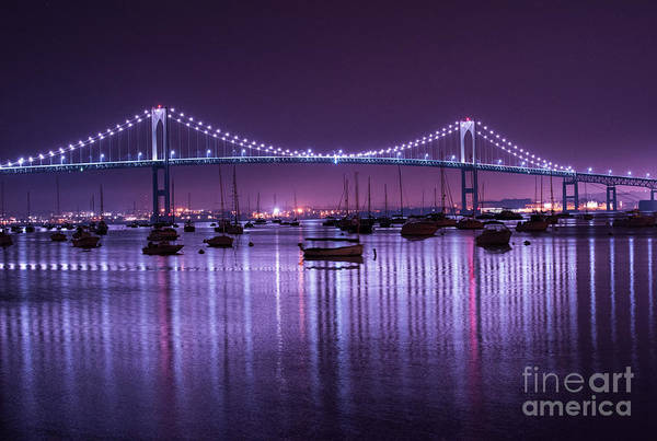 Newport Ri Wall Art - Photograph - Newport Bridge At Night by Juli Scalzi