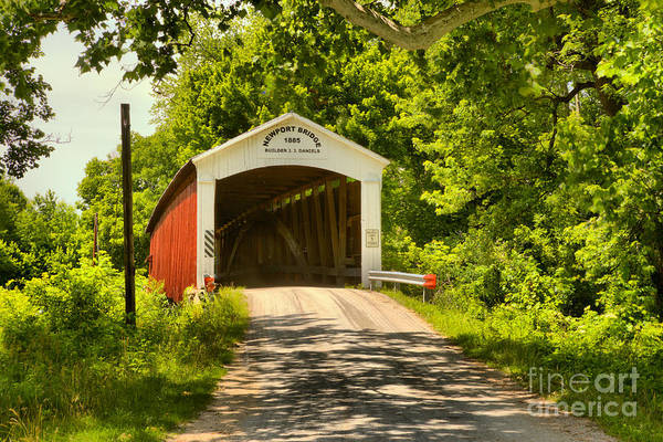 Photograph - Newport Covered Bridge In The Forest by Adam Jewell