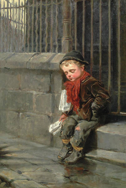 Hunger Painting - News-boy by Ralph Hedley