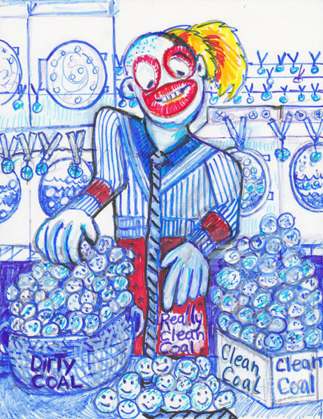 Sock Monkey Drawing - News Flash-clean Coal-really,really Clean Coal Found In United States Laundry Mats by Susan Brown    Slizys art signature name