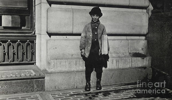 Wall Art - Photograph - Newsboy, 1909 by Lewis Wickes Hine