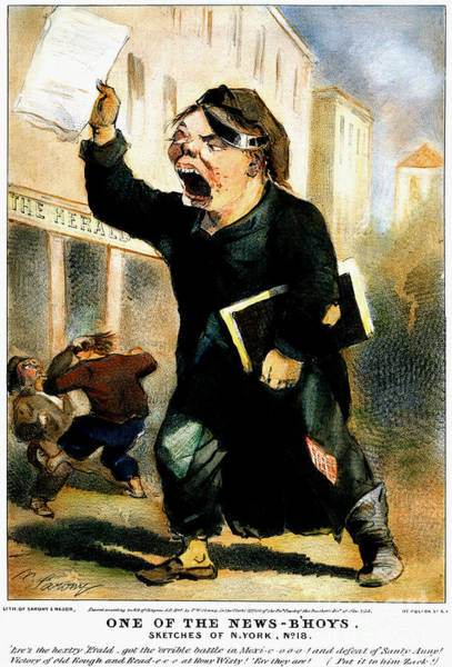 Wall Art - Photograph - Newsboy Shouting, 1847 by Granger