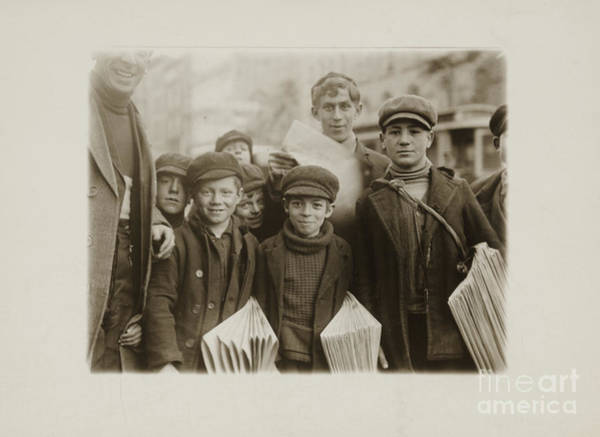 Painting - Newsboys Selling On Main Street In The Afternoon Hours. by Celestial Images