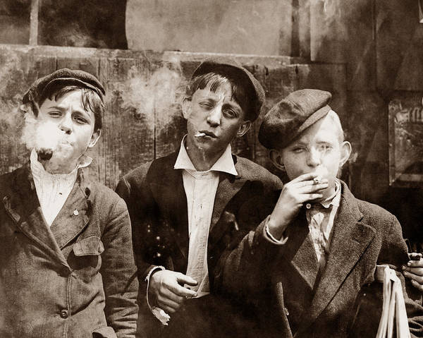 Vintage Photograph - Newsboys Smoking - 1910 Child Labor Photo by War Is Hell Store