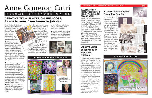 Digital Art - Newsletter Format Resume by Anne Cameron Cutri
