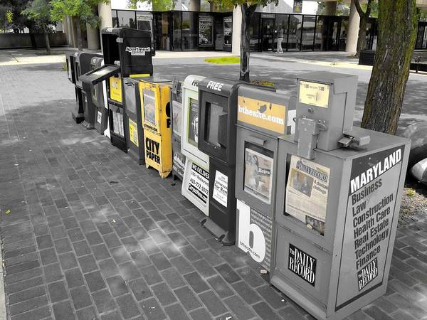 Photograph - Newspaper Boxes by Chris Montcalmo
